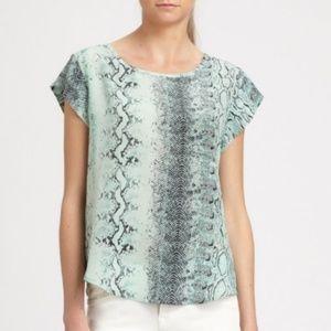 Joie Mint Snakeskin Print Silk Top Size S